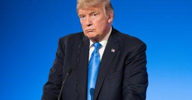 Donald Trump sur un fonds bleu