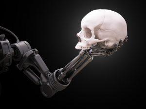 un robot avec une tête de squelette