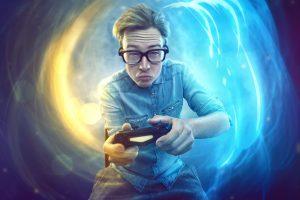 Nerd avec manette jeu vidéo
